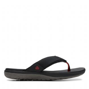 Clarks Mens Step Beat Dune Black Sandals